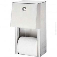 Naścienny pojemnik na papier toaletowy podwójny stal szlachetna matowa