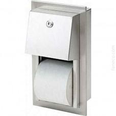 Wnękowy pojemnik na papier toaletowy podwójny stal szlachetna matowa