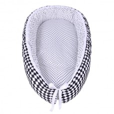 LULANDO Kokon dla dziecka, Biały w Czarne Groszki / Romby Czarno-Białe, 80x45 cm