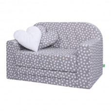 LULANDO Sofa Classic, Białe serca na szarym tle