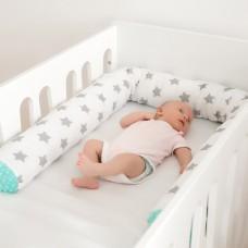 LULANDO Wałek do łóżeczka, szare gwiazdki na białym+mieta MINKY, 190 cm