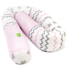LULANDO Wałek do łóżeczka, zygzaki różowo-szare / gwiazdki szare / kropki na różowym, 190 cm