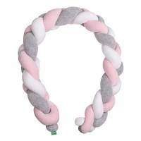 Lulando Ochraniacz - braid welur, szary / róż / biały, 200 cm